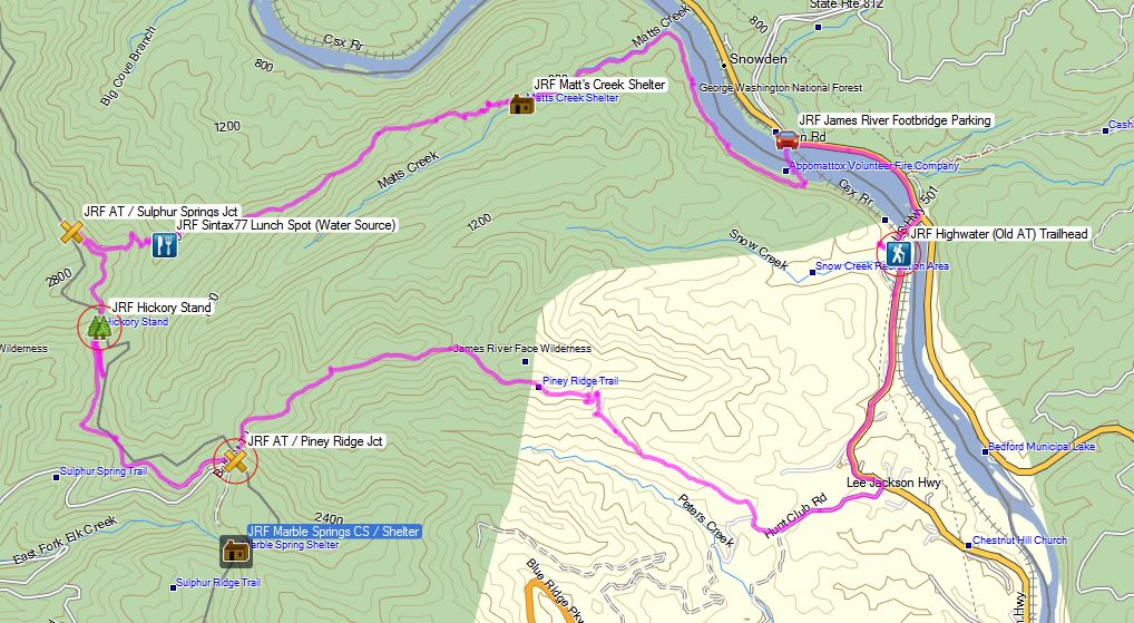 James River Face Wilderness - Route Overview - Sintax77